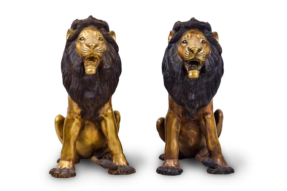Solid Bronze Entrance Lions (Sold as pair)