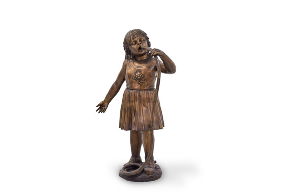 Solid Bronze Girl Drinking on a Hot Summer Day