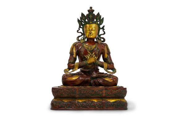 Bronze Thai Buddha Sculpture with Green and Gold Patina