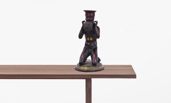 Solid Bronze Candle Holder Man