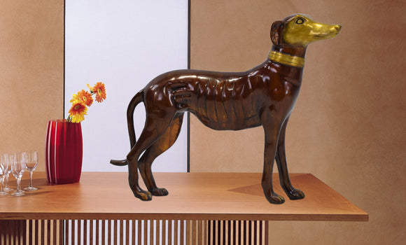 Solid Bronze Gold & Brown Patina Dog (Sold as each)