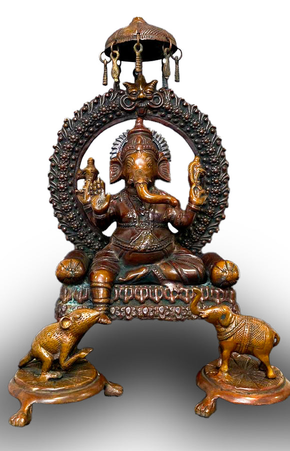 Solid Bronze Lord Ganesh with Devotees