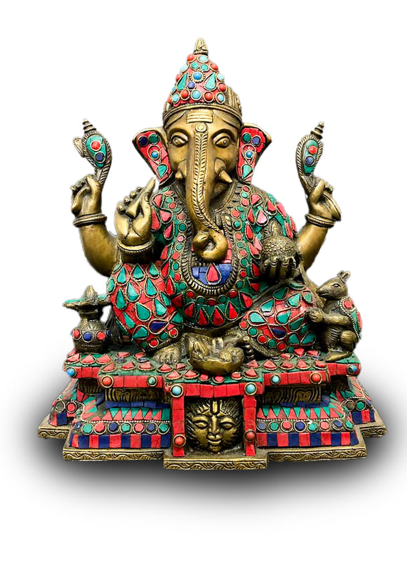 Solid Bronze Lord Ganesh Statue with Red, Blue & Turkish Gems