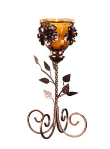 Tinted Glass Candle Holder with Metal Leaf Stand