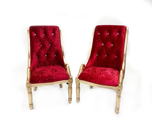 Golden Tufted Red Royal Velvet Studded Chairs