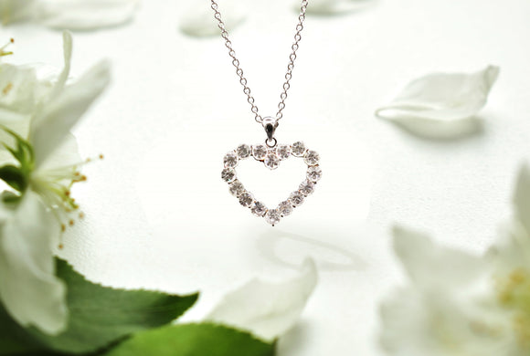 Cubic Zirconia Studded Hollow Heart Necklace