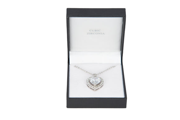 Cubic Zirconia Studded Clear Heart Necklace