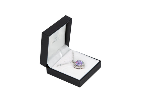 Cubic Zirconia Studded Purple Heart Necklace
