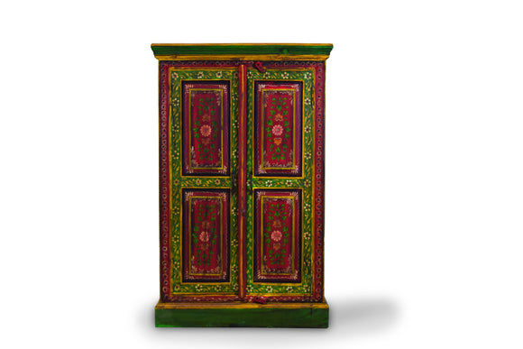 Teak Floral Painted Cabinet With 2 Doors and 2 Shelves