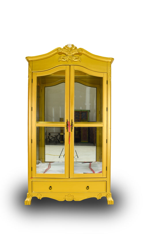 Solid Wood Golden China Cabinet with Shelves and Lights