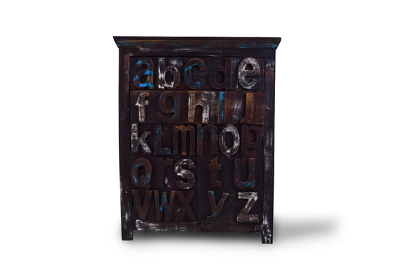 Kids Alphabet Solid Teak Wood Large Cabinet with Drawers and Shelves