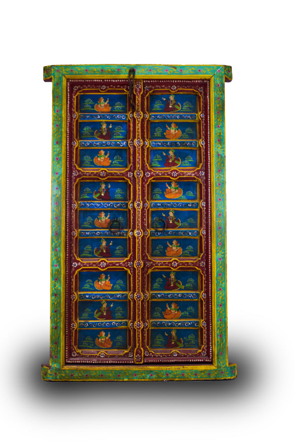 Solid Wood Light Green Bordered Vintage Door With Royal Kings & Queens Painted On Doors With Metal Handles