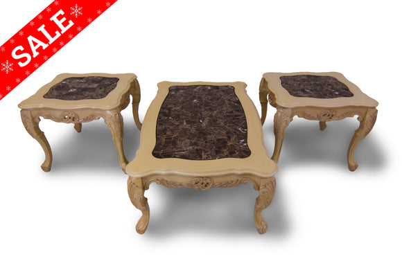 3 Piece Solid Wood Carved Marble Top Coffee Table Set