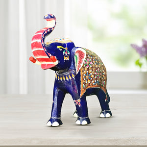 Engraved Royal Blue Military Elephant