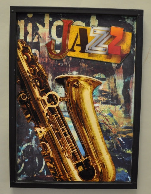Jazz Trumpet Metal sign with MDF frame