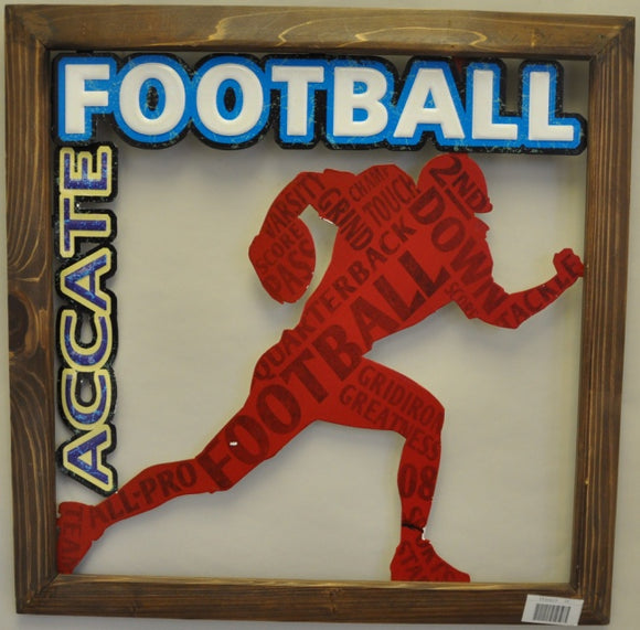 Accate Football Metal Sign with MDF Frame