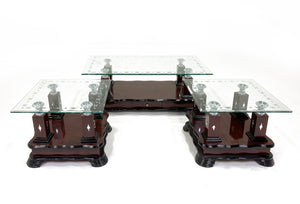 3 Piece Two Tier Wooden Coffee Table Square Simple Accent End Console Table with Storage Shelf