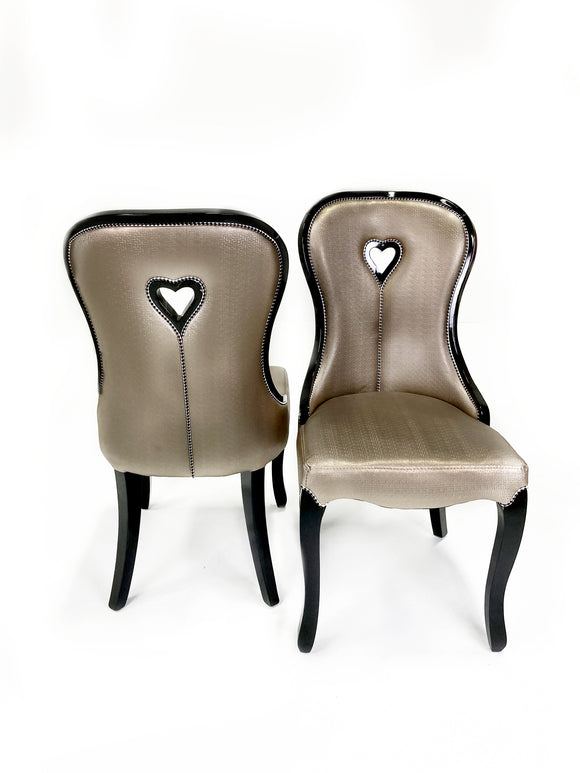 Solid Wood Leather Finely Textured Studded Designer Chair With Heart in the Middle