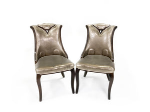 Solid Wood Gold Textured Studded Chairs