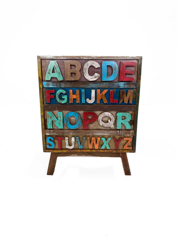 Antique Solid Teak Wood ABCD Cabinet For Kids Room