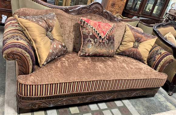 Solid Wood Velvet Vintage Sofa Set