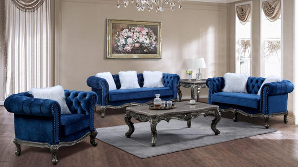 Teal Blue Royal Sofa Set