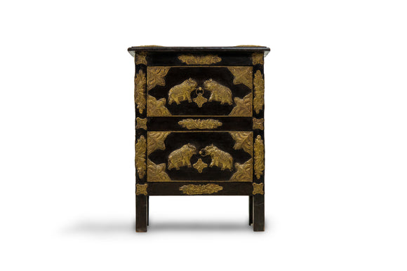 Teak 2 Drawer End Table with Brass Elephant Engravings