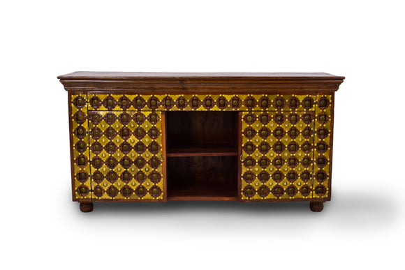 Solid Teak TV Cabinet with Brass Detailing