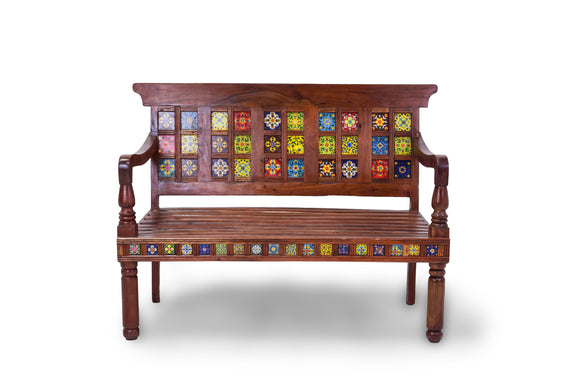 Teak Wooden Multicolor Bench