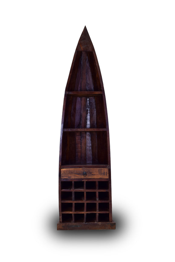 Solid Teak Wood Canoe with Wine Cabinet