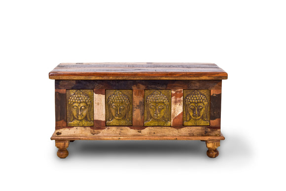 Teak Wooden Chest with Engraved Buddha Faces (Small)