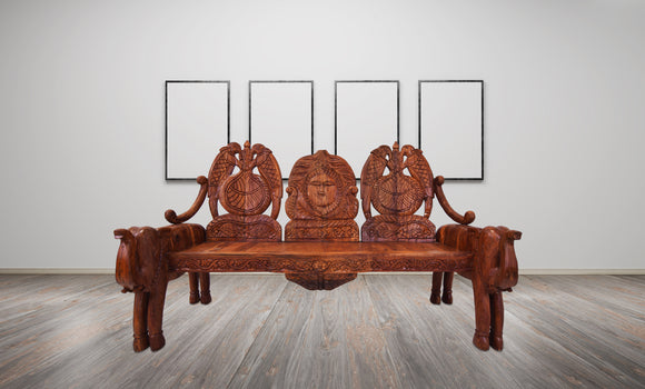 One of a Kind Solid Wood Hand Crafted 3 Piece Elephant Sofa Set