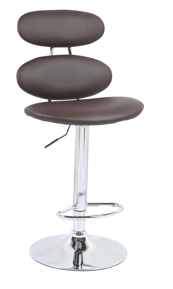 Oval Hydraulic Adjustable Bar Stool in Chocolate (Sold as Pair)