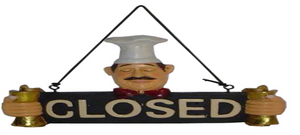 CLOSED Sign for Restaurants & PUBS