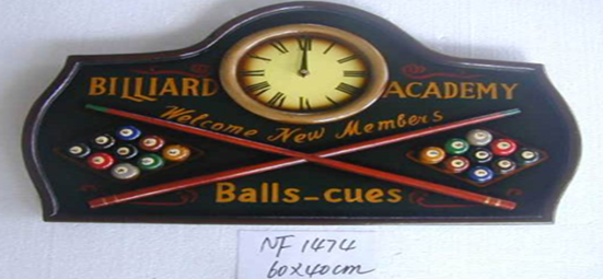 Billiard Wooden Wall Plaque With Clock