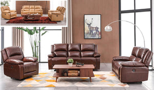 Dharam 3 Piece Set Top Grain Leather Sitting 5 Lay Flat Power Recliner with 5 USB Charging Port Sofa Set