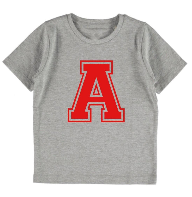 Personalised Varsity Tee - Grey & Red