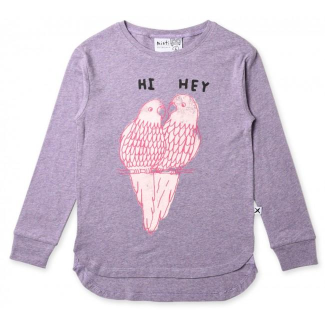 Minti hi hey parrot long sleeve girls t-shirt in purple marle cotton
