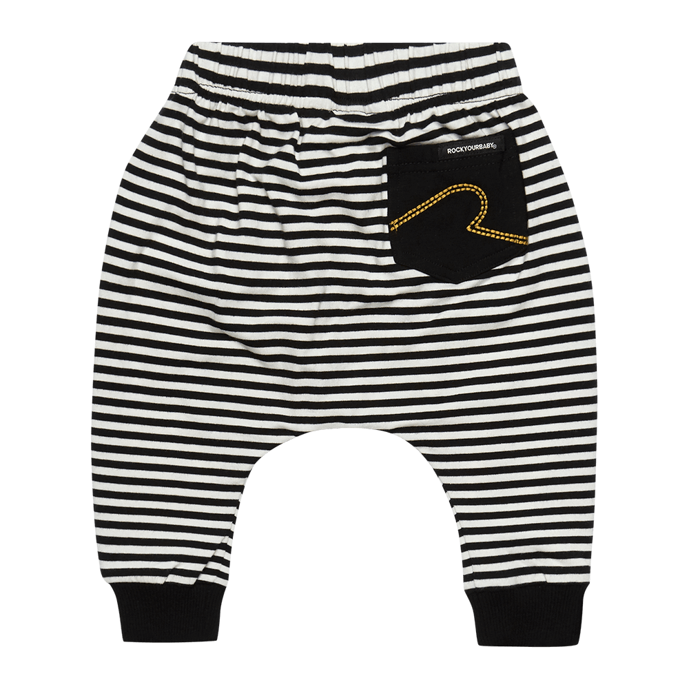 Rock Your Baby stripe baby trackpants in black