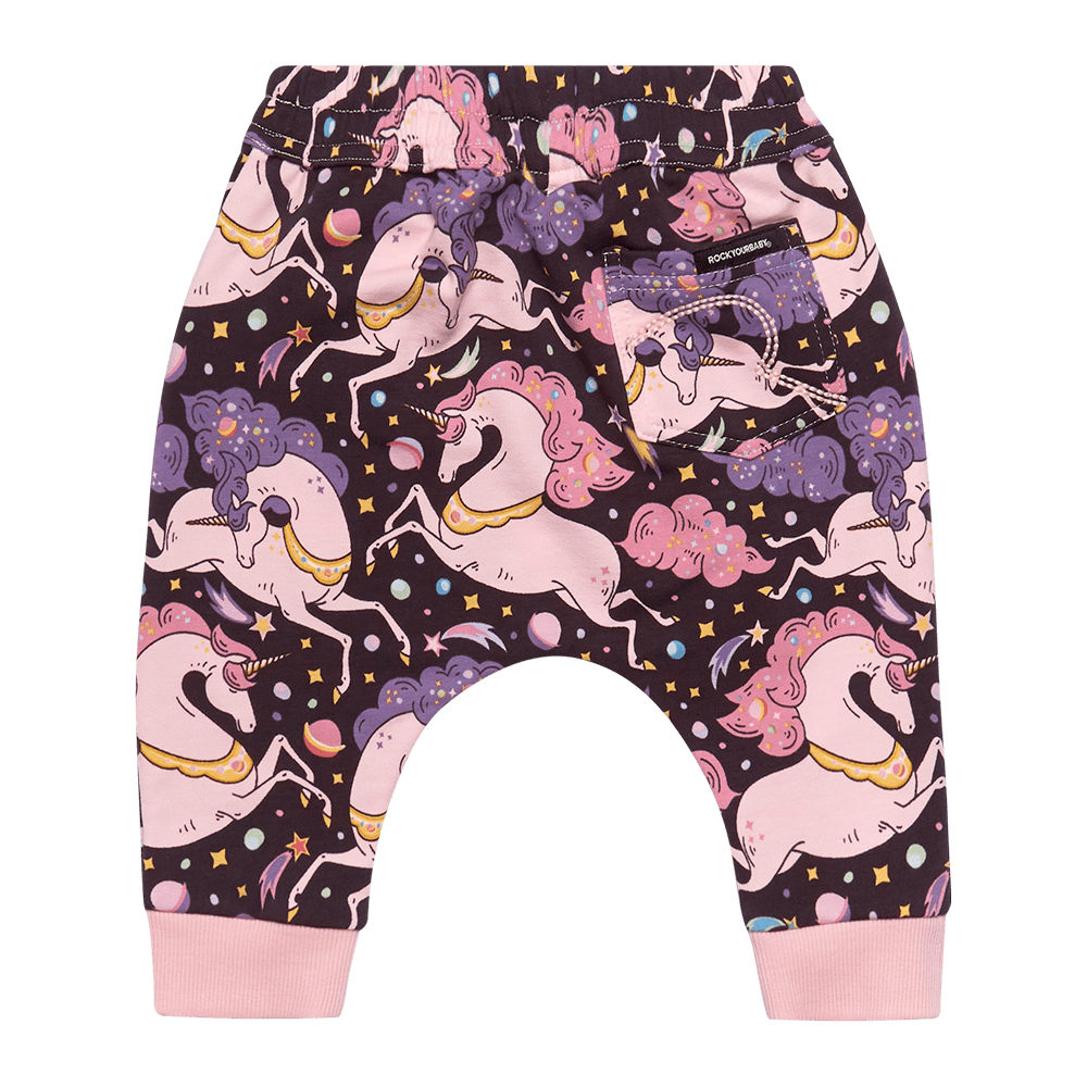 Rock Your Baby cosmic unicorn baby trackpants in multi coloured print