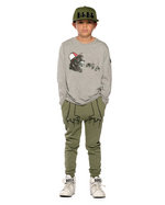 Band of Boys shouting lion asymmetric ls tee in marle grey