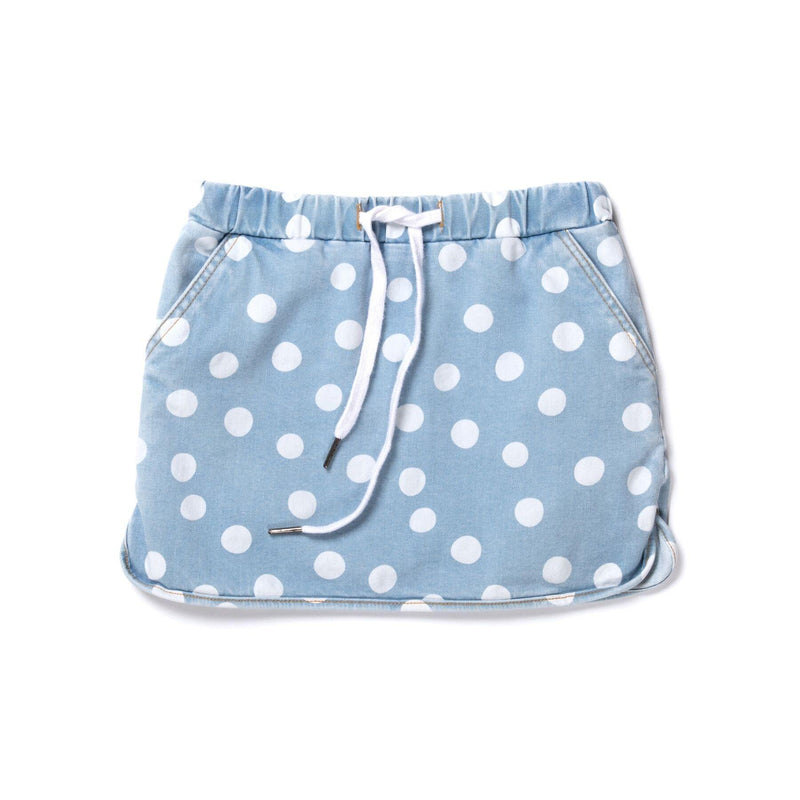 Dotty Denim Skirt in blue