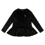 Rock Your Baby Velvet Long Sleeve Girls Top tee in Black