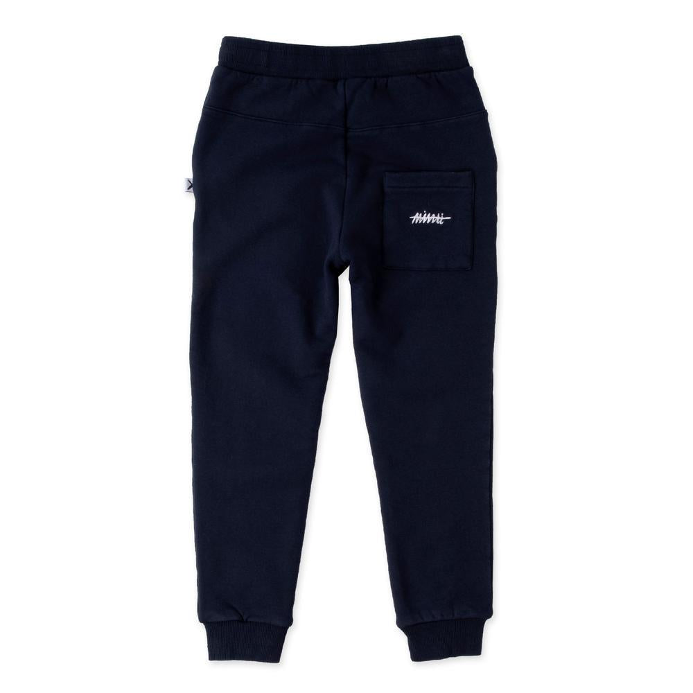 Minti furry jogger kids tracksuit pants in oxford blue