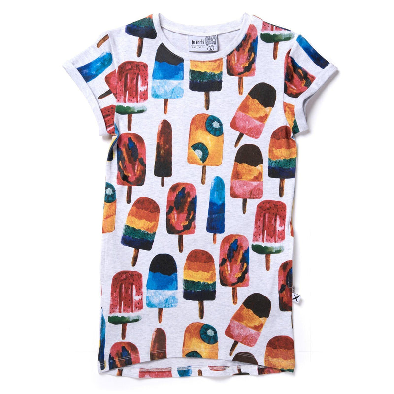 Minti Icy Poles Rolled Up  Tee  Dress in multi colour print