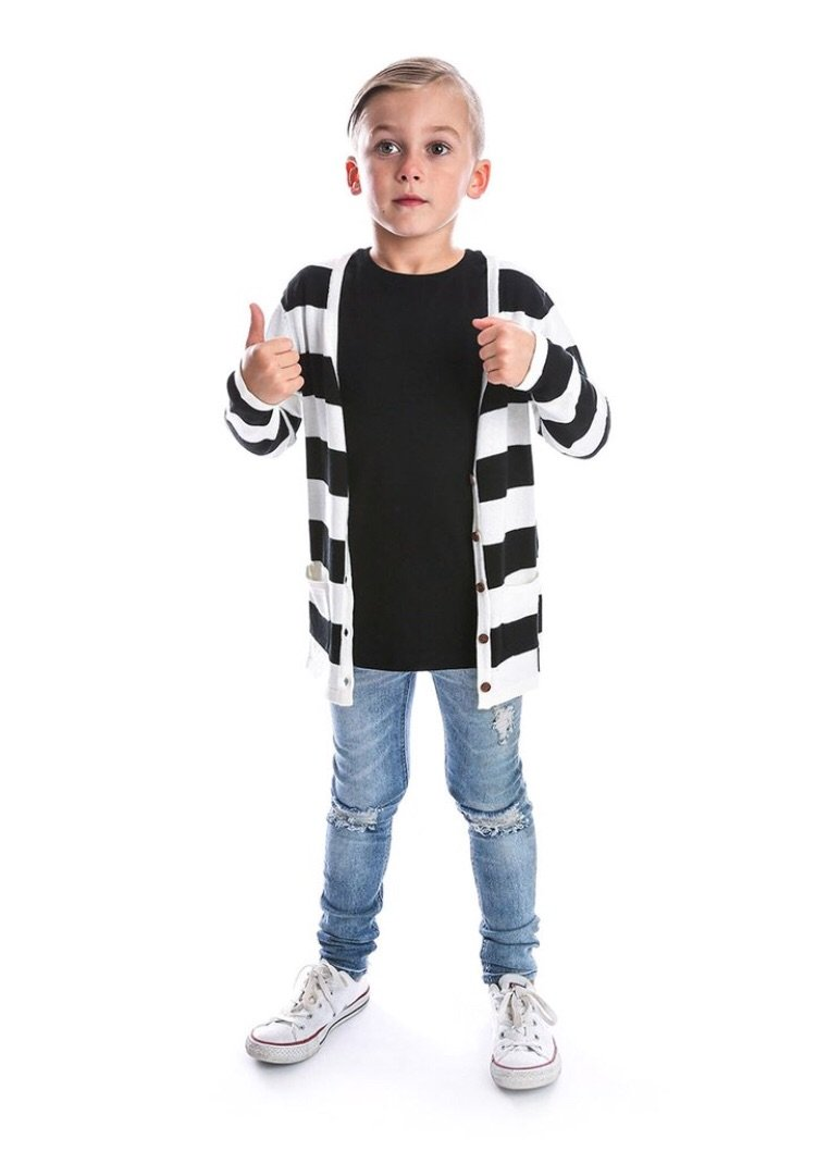 Beau Hudson Black and White Premium Knit Cardigan