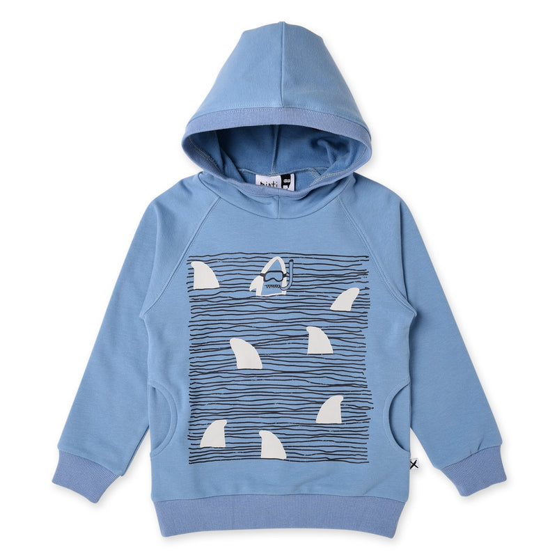 Minti long sleeve snorkling sharks cotton fleece hoodie in muted blue