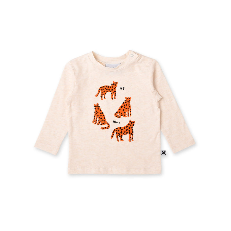 Minti friendly cheetahs baby t-shirt in cream cotton
