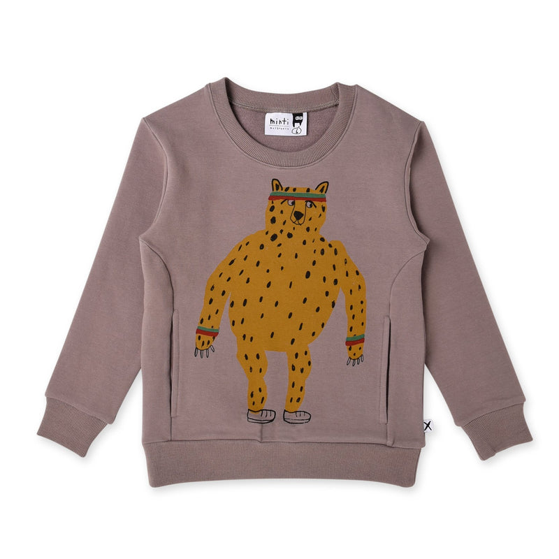 Minti long sleeve sporty cheetah furry split crew in dark grey cotton fleece