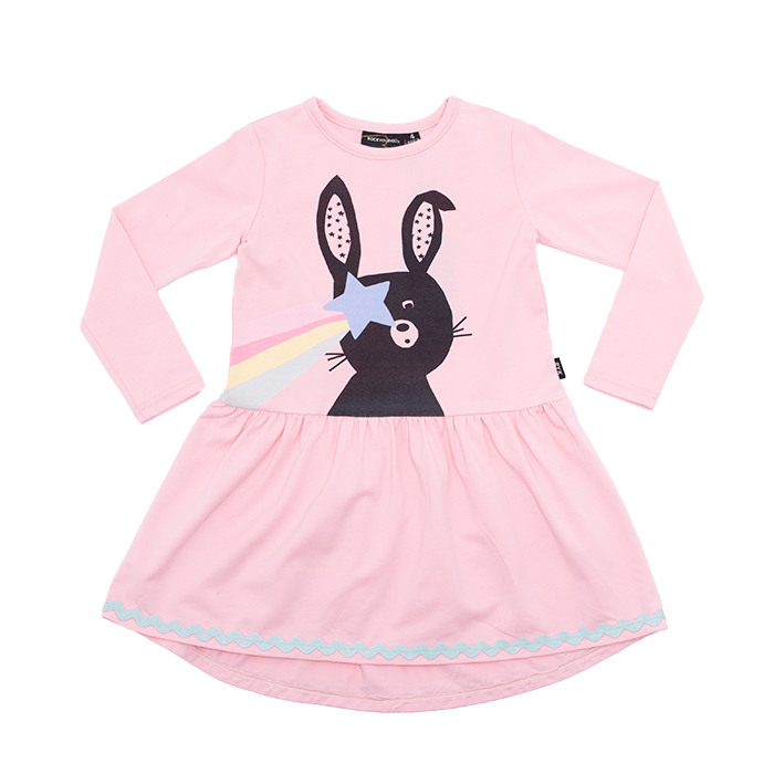 Rock Your Baby long sleeve bunny star girls dress in pink cotton jersey